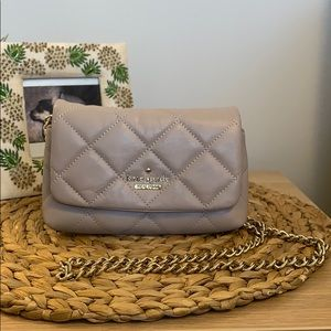 Neutral Leather Kate Spade purse! With gold chain!